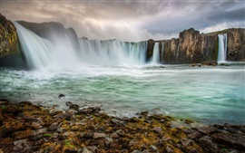 Preview wallpaper Iceland, beautiful waterfalls, stream, clouds