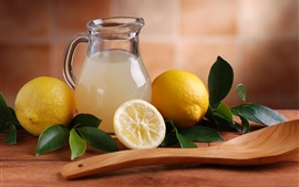 Preview wallpaper Lemon, fruit juice, bottle, spoon, leaves