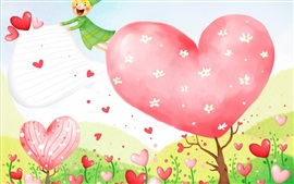 Preview wallpaper Love hearts flowers, art drawing