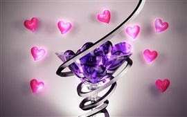 Love hearts, glass cup, abstract 3D