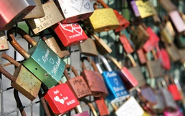 Love locks, fence