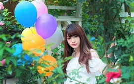 Preview wallpaper Lovely Asian girl, colorful balloons