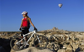 Preview wallpaper Mountain bike, cross country, blonde girl