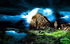 Preview wallpaper Mountains, grass, clouds, river, dusk, creative design