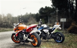 Preview wallpaper Orange and blue motorcycles