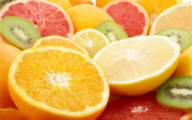 Preview wallpaper Oranges, lemons, grapefruits, kiwi, fruits slice