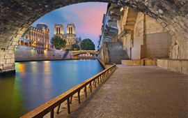 Preview wallpaper Paris, France, river, bridge, arch, buildings, lights, dusk