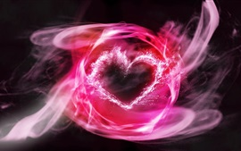 Pink smoke, love heart, abstract