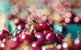 Preview wallpaper Red cherries, glare background