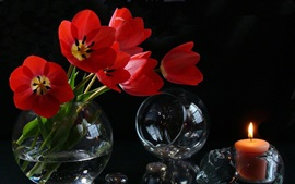 Preview wallpaper Red tulips, candle, vase