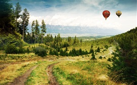 Preview wallpaper Road, grass, trees, mountains, clouds, hot air balloons