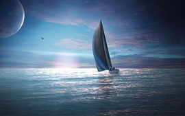 Preview wallpaper Sailing, moon, birds, sea