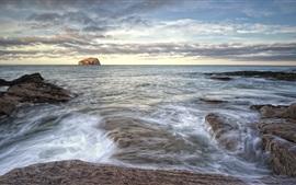 Escócia, costa, mar, pedras