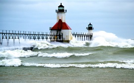 Sea, coast, waves, lighthouse, pier