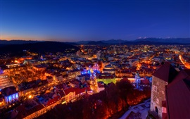 Preview wallpaper Slovenia, city, evening, lights, Christmas