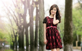 Preview wallpaper Smile Asian girl, skirt, trees