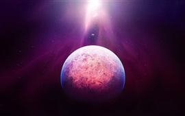 Preview wallpaper Space, planet, stars, purple light