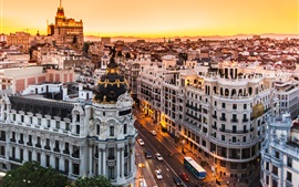 Spain, Madrid, buildings, road, city night, lights