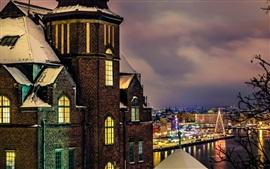 Estocolmo, Suecia, ciudad en la noche, las luces, las casas