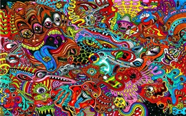 Preview wallpaper Surreal drawing, psychedelic, colorful colors