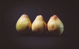 Preview wallpaper Three pears, black background