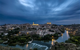 Toledo, Spain, city, dusk, river, houses, sky, clouds