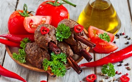 Preview wallpaper Tomatoes, peppers, meat, BBQ, oil