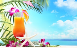 Tropical drinks, fruit juice, flowers, glass cup