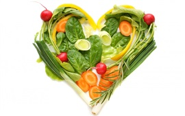 Preview wallpaper Vegetables love heart, creative