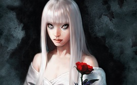 Preview wallpaper White haired fantasy girl, rose