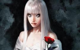 Белая волосатая девушка-фантазия, роза