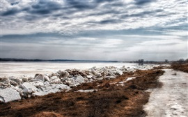 Winter, ice, river, grass, clouds, snow