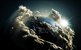 3D Earth, clouds, sun, space