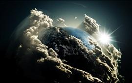 Aperçu fond d'écran 3D Terre, nuages, soleil, espace
