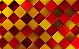 3D squares, red, yellow, brown
