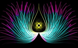 Preview wallpaper Abstract feathers, symmetry lines, wings, black background