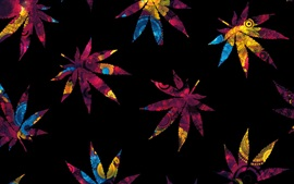 Preview wallpaper Abstract maple leaves, colorful, black background