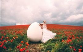 Alexandra Cameron, girl and big egg, red poppies field