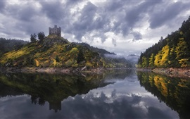 Alleuze, France, lake, fog, trees, castle, clouds