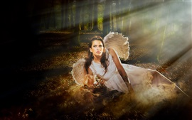 Preview wallpaper Angel girl in the forest, light