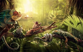 Preview wallpaper Animals, lizard, snake, iguana, frog, dragonfly, turtle and snail