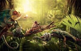 Animais, lagarto, cobra, iguana, rã, libélula, tartaruga e caracol