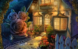Art picture, house, flowers, lights