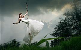Asian girl, bride, ladder