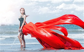 Preview wallpaper Asian girl, sea, sword, red dress