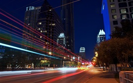 Preview wallpaper Austin, Texas, USA, city night, road, lights
