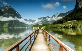 Austria, Hallstatt, pier, lake, mountains, clouds, rocks
