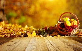 Preview wallpaper Autumn, pumpkin, basket, berries, leaves, wood board