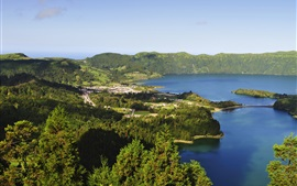 Preview wallpaper Azores, Portugal, lake, mountains, forest