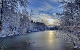 Preview wallpaper Baden-Wurttemberg, Germany, winter, trees, river